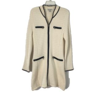Boston Proper Textured Zip Up Sweater